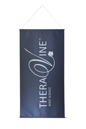 Theravine Body Drop Banner - Theravine White on Grey