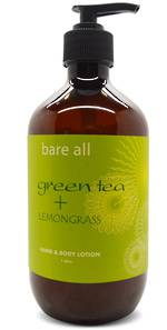 Bare All GREEN TEA + LEMONGRASS Hand & Body Lotion 500ml