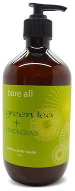 Bare All GREEN TEA + LEMONGRASS Hand & Body Wash 500ml
