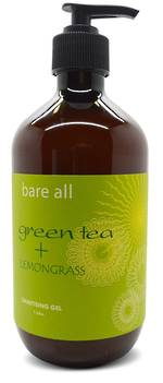 Bare All GREEN TEA + LEMONGRASS Sanitising Gel 500ml