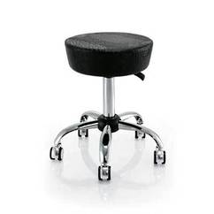 Beautician Stool (Bigger Seat) - Black Crocodile Pattern